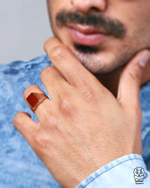 خرید انگشتر مردانه عقیق و فیروزه