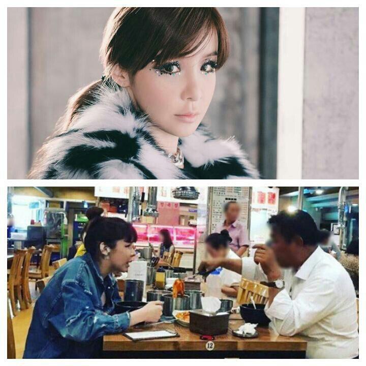 پارک بوم عضو گروه 2ne1 در یک رستوران درحال غذا خوردن با یک مرد سیاه پوست دیده شده...😐