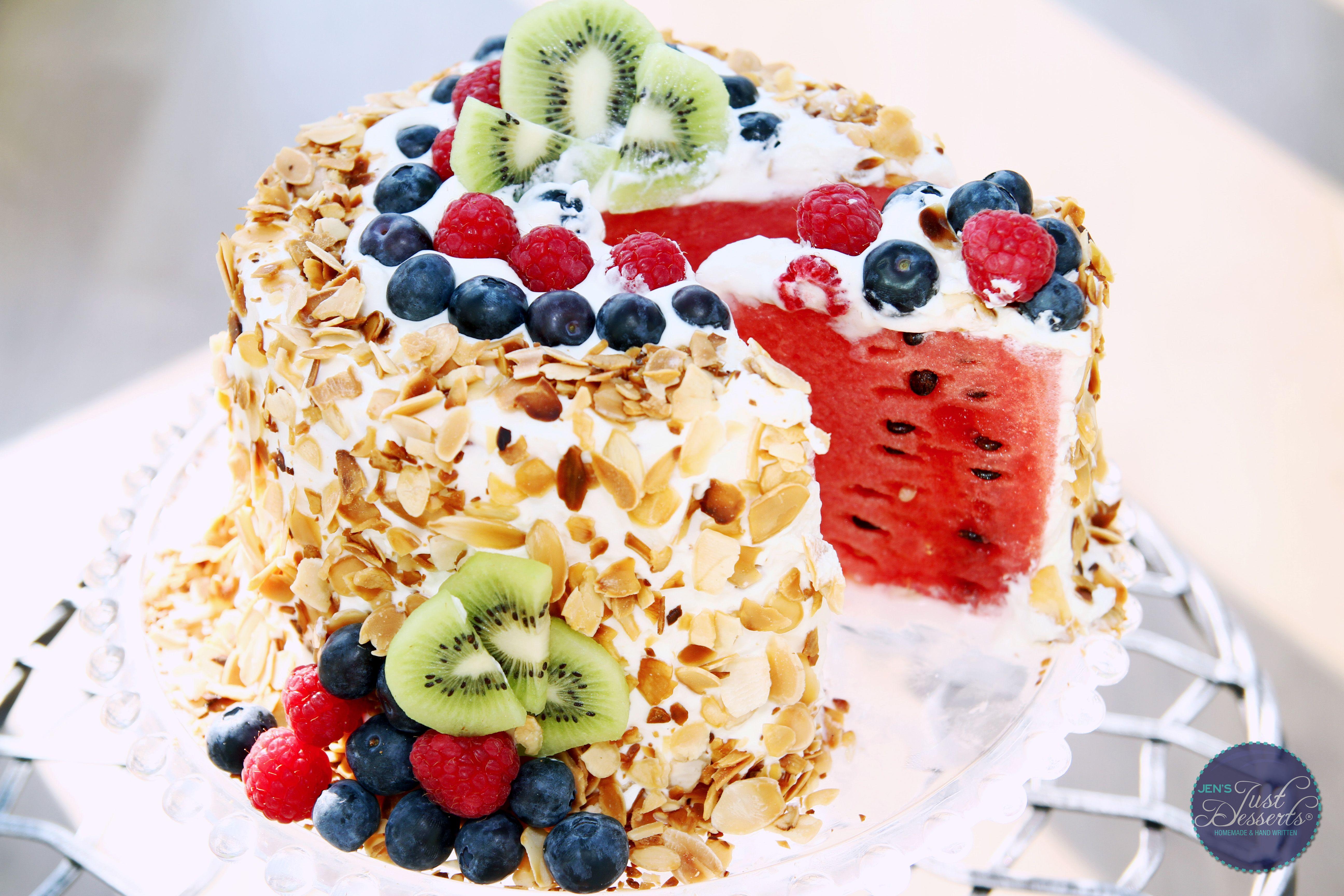 طرز تهیه کیک هندوانه(بدون پخت)