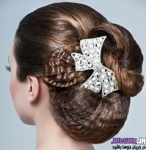 مدل های شینیون موی عروس ۹۶ | شینیون عروس با تور و تاج
