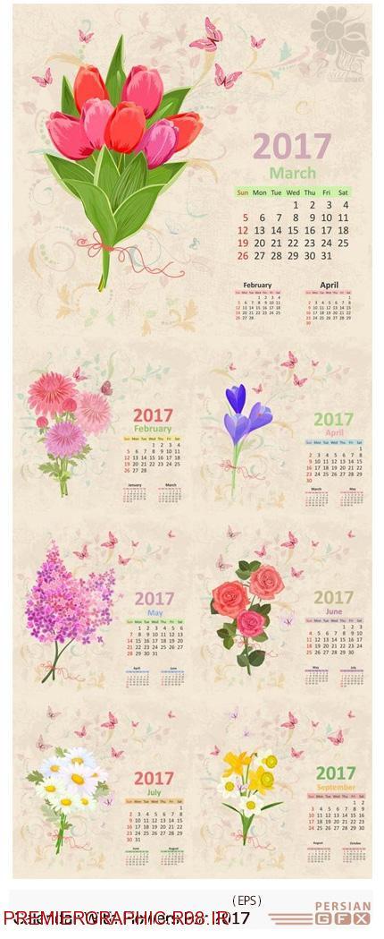 دانلود تصاویر وکتور قالب آماده تقویم 2017 با طرح های گلدار