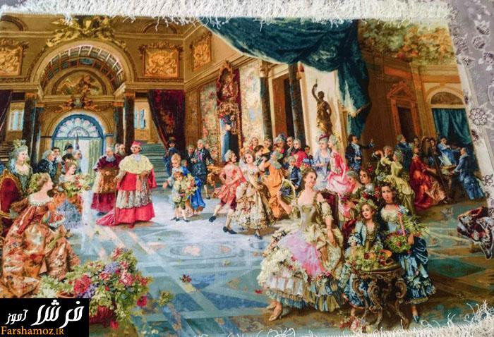 عکس تابلو فرش بافته شده عروسی پاپ ( مهمانی پاپ)