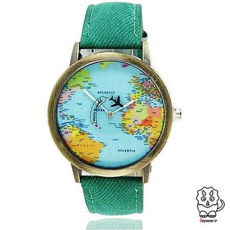 ساعت خوشکل نقشه در بند رنگی