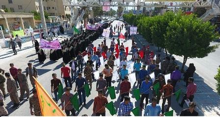 رژه اقتدار دانش آموزان بسیجی