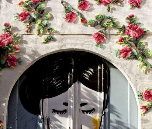 گلدوزی بر روی دیوار های اسپانیا (+عکس)