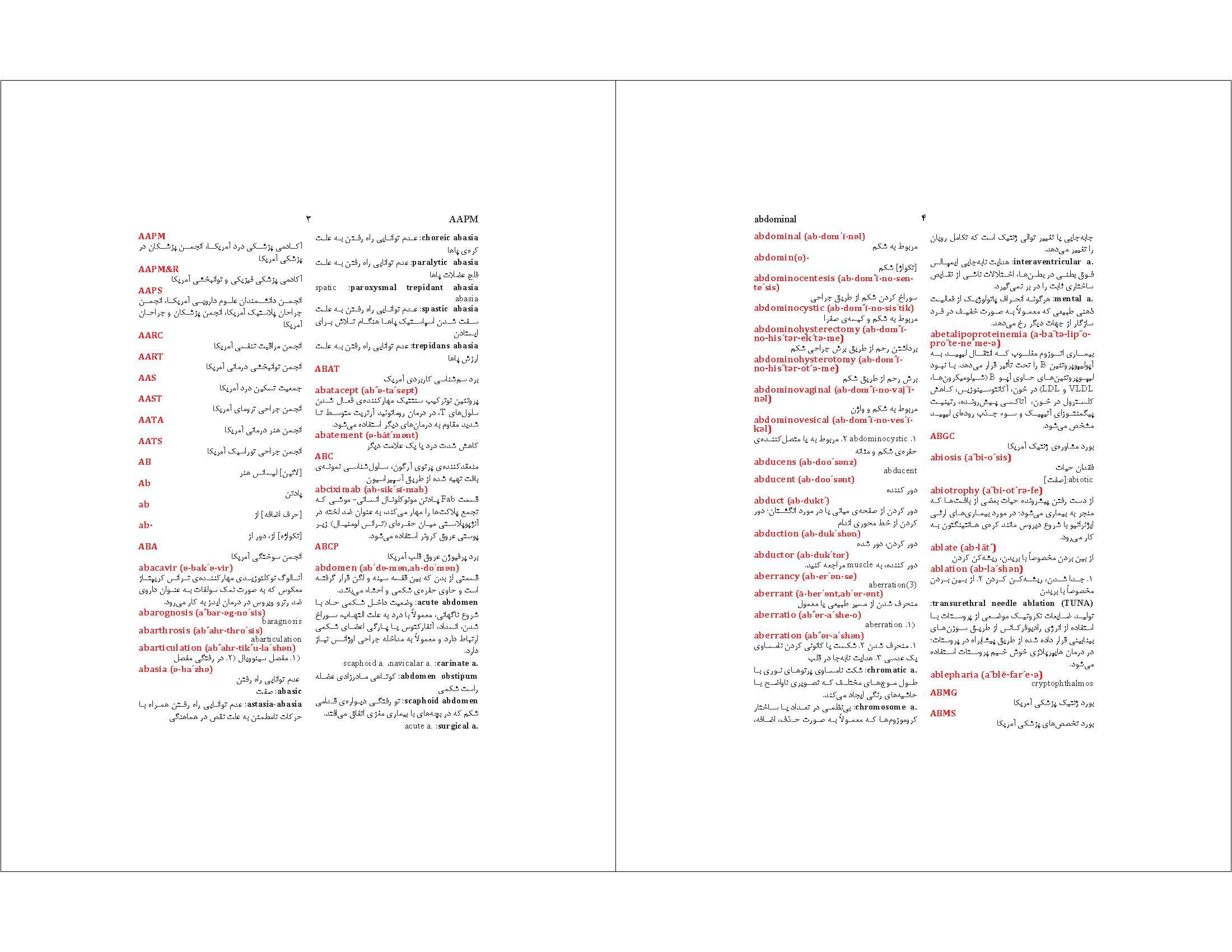 نمونه صفحه آرایی کتاب دیکشنری انگلیسی به فارسی