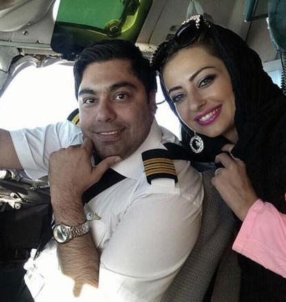 عکس دو نفره خانم بازیگر و همسر خلبانش در کابین هواپیما+عکس