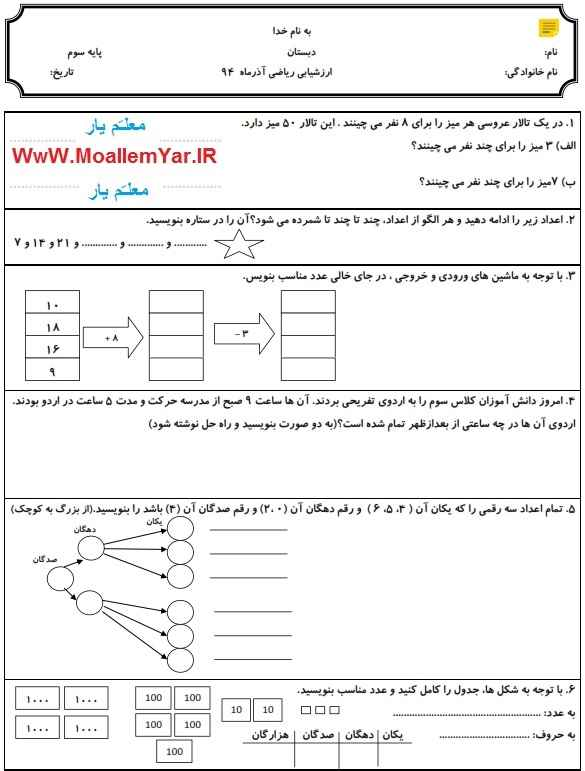ارزشیابی آذر 94 ریاضی پایه سوم ابتدایی