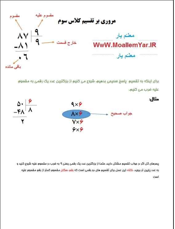 آموزش تقسیم ریاضی پایه سوم ابتدایی | WwW.MoallemYar.IR