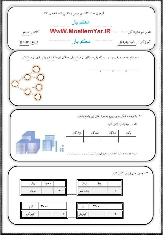 آزمون نوبت اول ریاضی پایه سوم ابتدایی (دی 93) | WwW.MoallemYar.IR