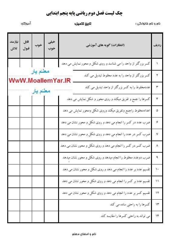 چک لیست فصل دوم ریاضی پایه پنجم 95 | WwW.MoallemYar.IR