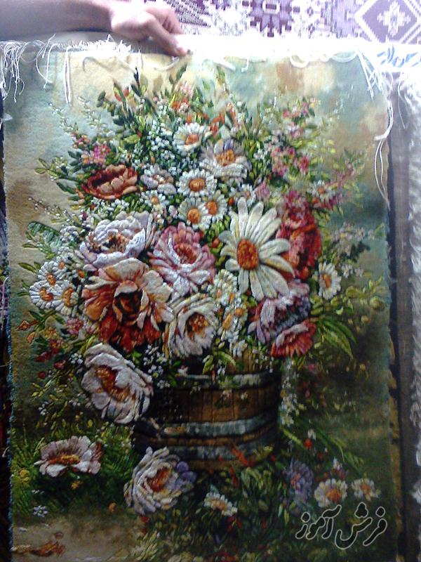 تابلو فرش گل و گلدان عکس تابلو فرش گل تابلو فرش گل و گلدان بافته شده
