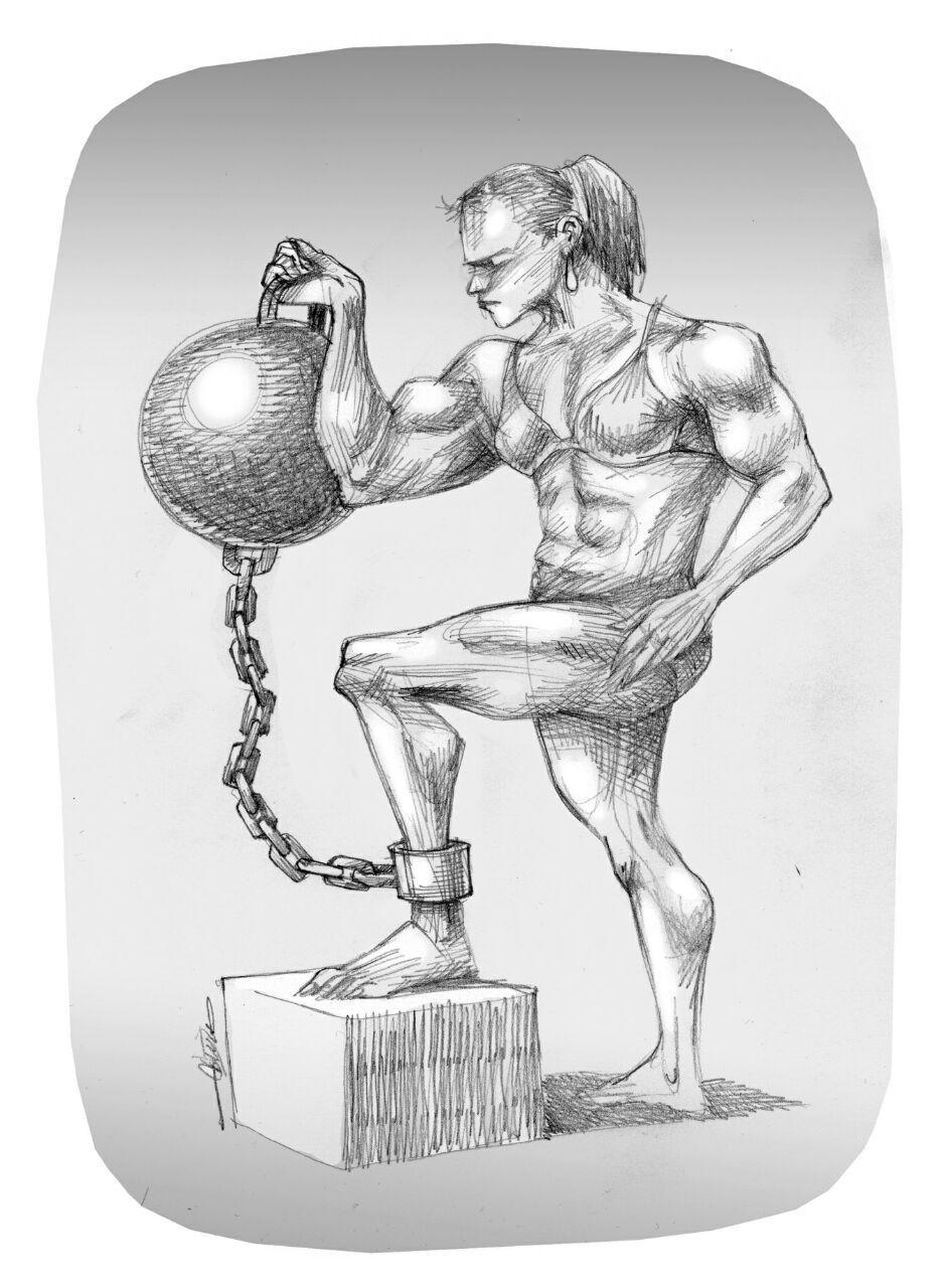 کاریکاتور بازداشت زنان بدنساز