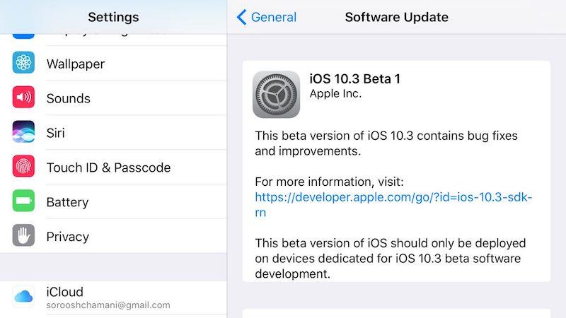 انتشار اولین نسخه آزمایشی iOS 10.3 با یک سورپرایز و چند قابلیت جدید