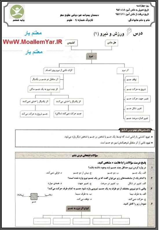 تکلیف آخر هفته علوم تجربی ششم ابتدایی (دی 95) | WwW.MoallemYar.IR
