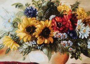 عکس با کیفیت از تابلو فرش بافته شده گل و گلدان تبریز