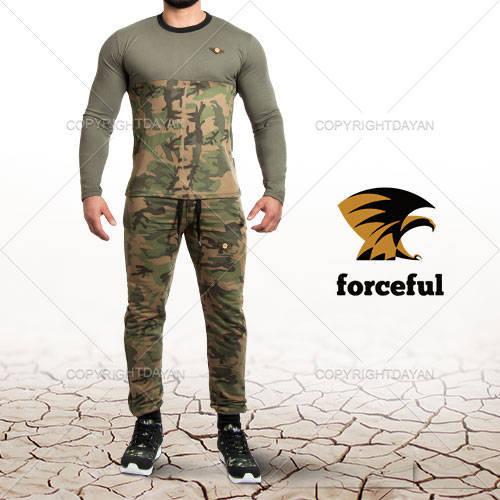 ست تیشرت و شلوار ارتشی Forceful(سبز)