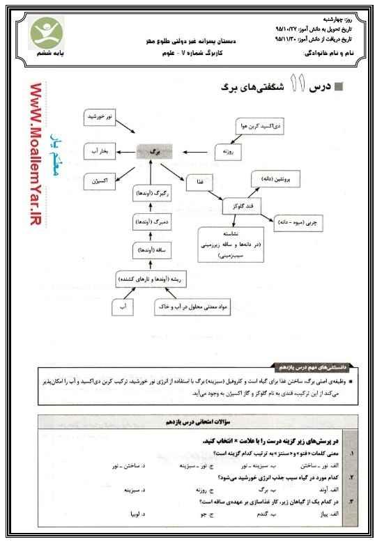 کاربرگ درس یازدهم علوم ششم ابتدایی (بهمن 95) | WwW.MoallemYar.IR