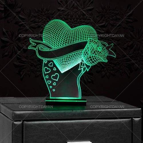آباژور سه بعدی طرح love flower