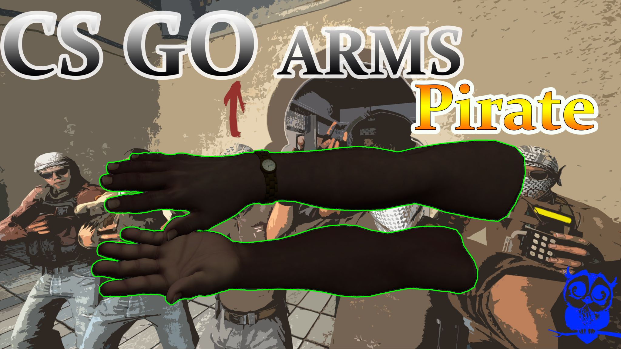 دانلود دست کش کانتر گو CS:GO Arms pirate برای کانتر استریک 1.6