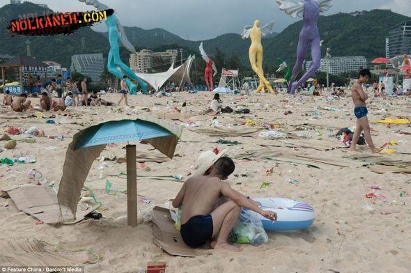 سواحل تفریحی فوق العاده کثیف در چین + عکس