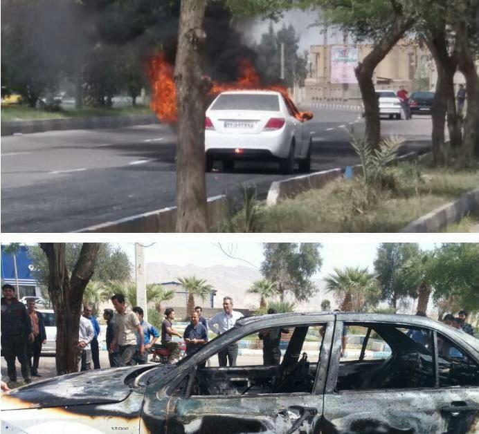 آتش زدن خودروی دنا به نشانه اعتراض