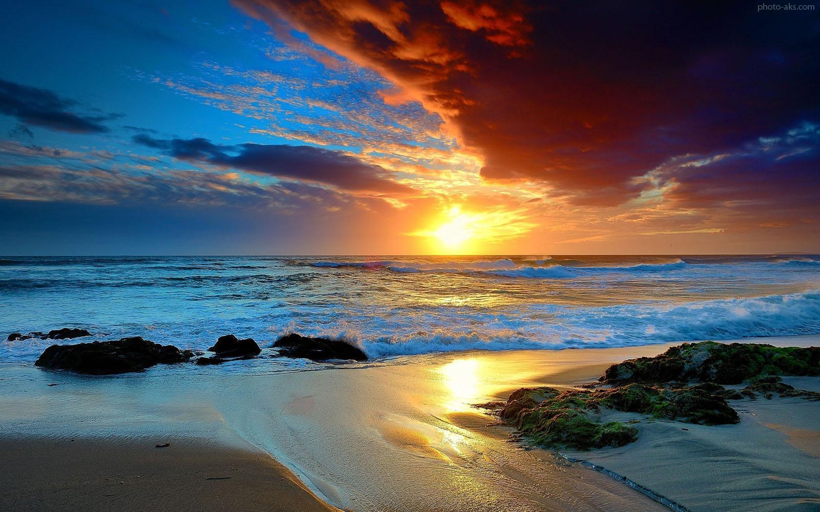 عکس غروب آفتاب و دریا