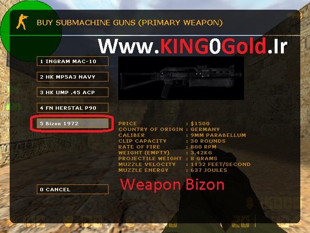 دانلود گان Weapon Bizon برای بوی منوی کانتر استریک 1.6