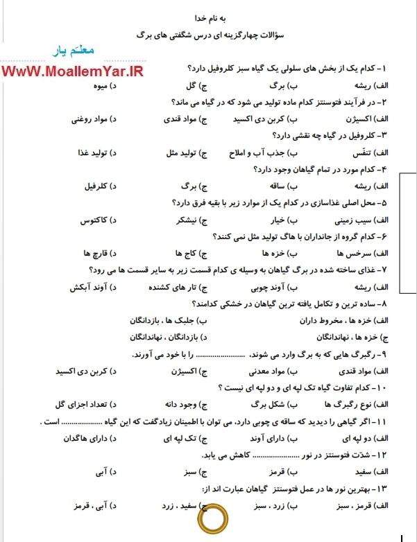 تمامی سوالات درس 11 علوم ششم ابتدایی | WwW.MoallemYar.IR