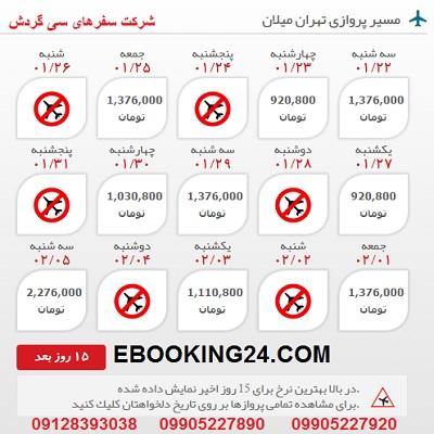 خرید بلیط هواپیما تهران به میلان
