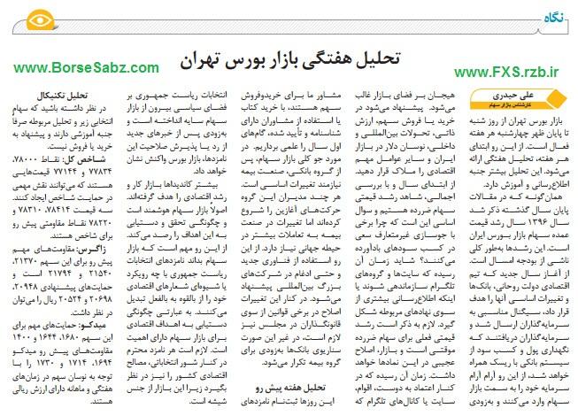 تحلیل هفتگی بازار بورس تهران از تاریخ 26 تا 31 فروردین 1396