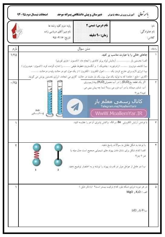 آزمون نوبت دوم شیمی دوم دبیرستان | WwW.MoallemYar.IR