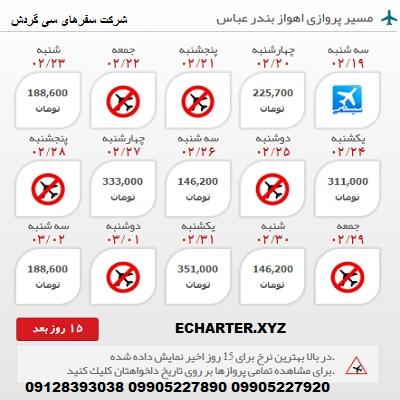 خرید بلیط هواپیما اهواز بندر عباس + خرید بلیط هواپیما لحظه اخری اهواز بندر عباس + بلیط هواپیما ارزان