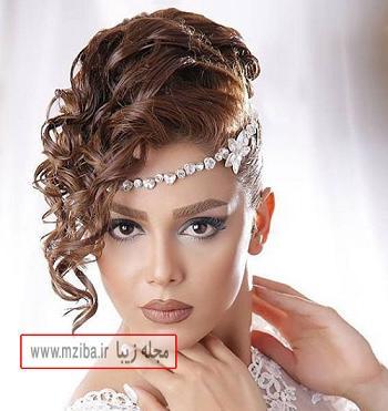 آرایش عروس با مدل موی ریخته خیلی زیبا