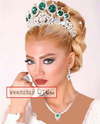 آرایش عروس با تاج عروس جذاب و زیبا