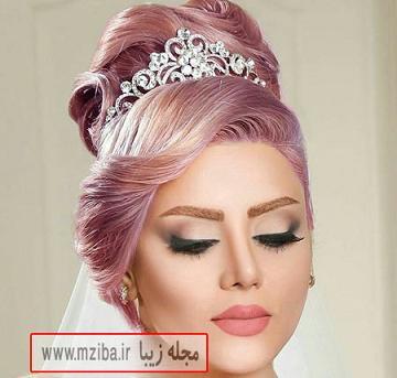 آرایش عروس با رنگ موی خاص و جذاب