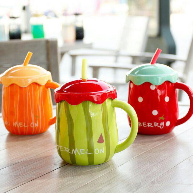 خرید لیوان طرح استوایی شکل میوه نی و در دار
