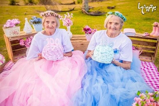 تصاویر جالب از تولد صدسالگی خواهران دوقلو