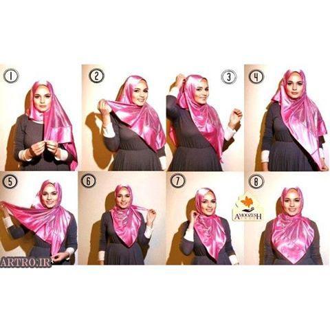 آموزش بستن شال و روسری دخترانه6