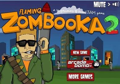 بازی آنلاین زامبی کشی Flaming Zombooka 2