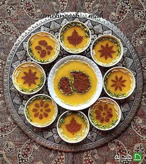 تزیین شله زرد و حلوا برای سفره افطار