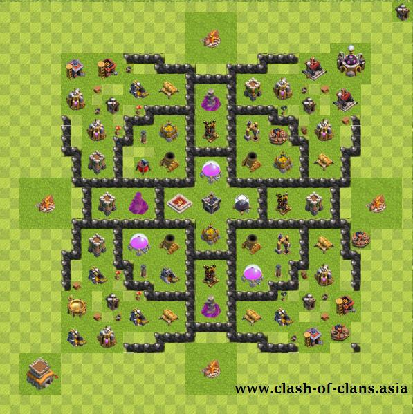 نقشه های فارمینگ کلش آف کلنز برای تاون هال 8