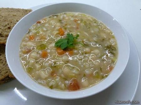 سوپ جو سفید در ماکروویو
