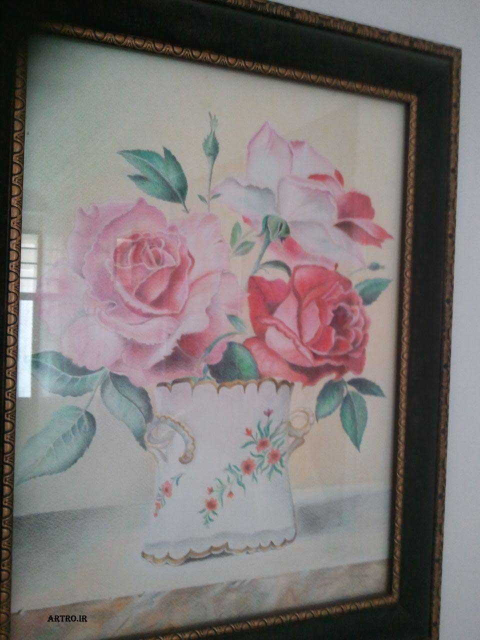 مدل نقاشی مداد رنگی گل
