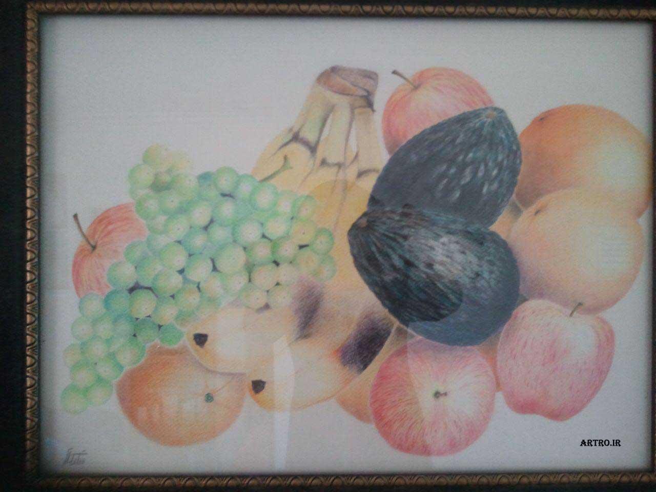 مدل نقاشی مداد رنگی میوه