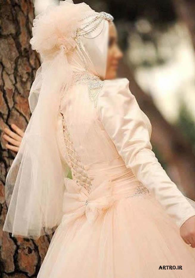 مدل لباس عروس پوشیده دانتل,