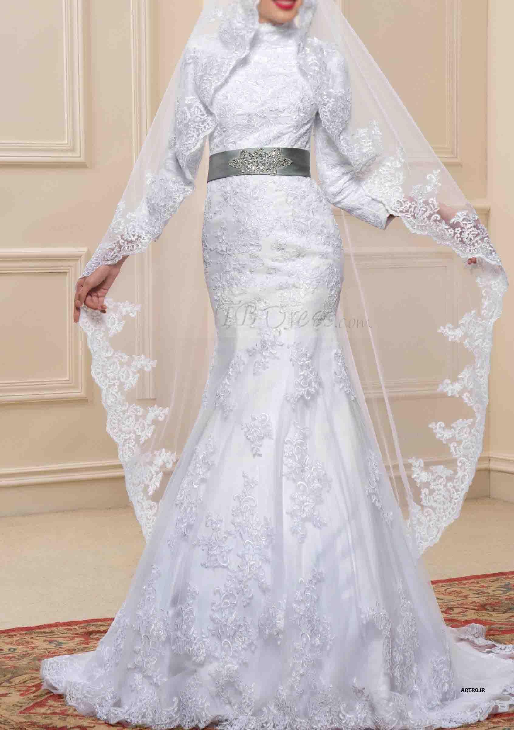 مدل لباس عروس پوشیده اروپایی,