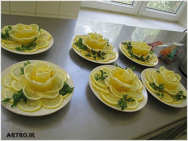 تزیین لیمو ترش به شکل گل