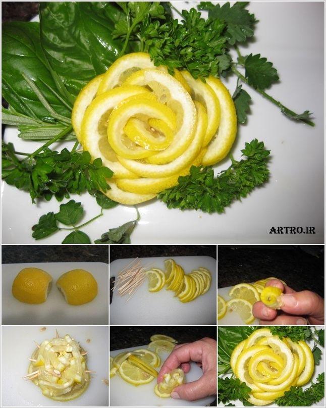 تزیین لیمو ترش به شکل گل,