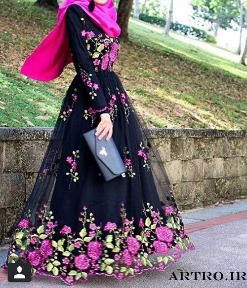 مدل لباس مجلسی بلند طرح دار96